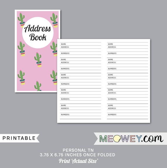 personal size address book inserts planner printable instant etsy