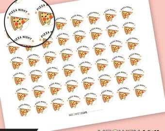 Pizza Night Stickers, Planner Printables INSTANT DOWNLOAD Take Away Cheat Night Cooking Food Scrapbook Cute Kawaii Meowey Multicolor Print