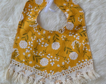 Mustard Floral Heirloom Bib