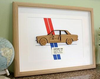 Datsun 510 Blueprint, Laser Cut Wood, Datsun 510, Datsun Blueprint, Datsun 1600, Datsun Gift, Datsun 510 Sedan, Datsun, 8x10 or A4