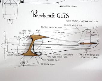 Airplane blueprint etsy airplane blueprint beechcraft g17s art aircraft wall malvernweather Gallery