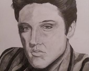 hand drawn pencil sketch of Elvis Presley