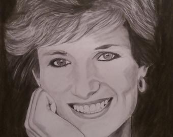 Princess Diana pencil sketch