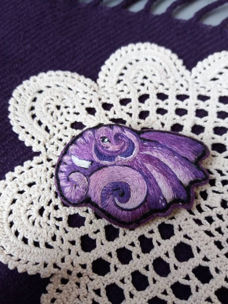 Galaxy Embroidery Elephant Brooch Embroidered Brooch with Elephant Handembroidered Pin Gift for Elephant Lovers Embroidered violet Elephant