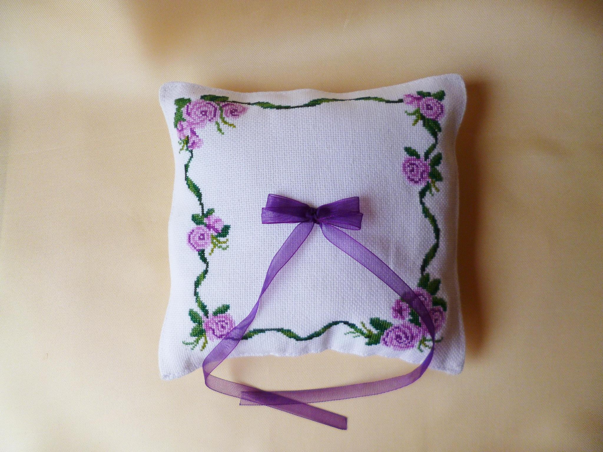 Wedding ring bearer with violet rose Wedding ring cushion | Etsy