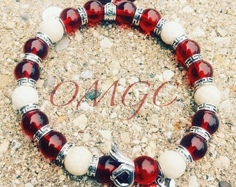 Fraternity Inspired Beaded Charm Bracelet: Kappa Alpha Psi