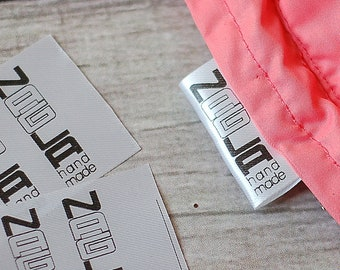 50 pc Custom Clothing labels // wash care labels // sew-in custom garment labels //  Fold Over Care Labels // Nylon Satin fabric labels