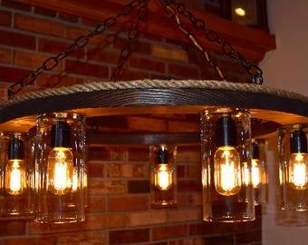 Rustic chandelier etsy rustic wooden ring chandelier aloadofball Images