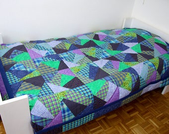 Quilt Top, Children's Bed Quilt, Single Bed Quilt, Patchwork Quilt Bed Cover, Kids Bed Quilt, Children's Bedspread, Colorful Quilt Top