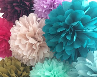 Custom Color set of 10 tissue paper pompoms first birthday wedding ceremony reception decorations arch arbor aisle marker baby bridal shower