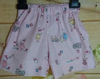 baby shorts,rabbit, bunnies, bunny, fox, floral, roses, flowers, baby headbands, wide legged