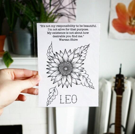 Leo Print, Warsan Shire Quote, Feminist Zodiac Astrology Art