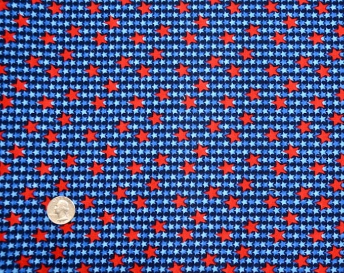 BSA Red and Blue Compliment STAR Print - Kaufman Registered Boy Scout Fabric - 100% Kona Cotton