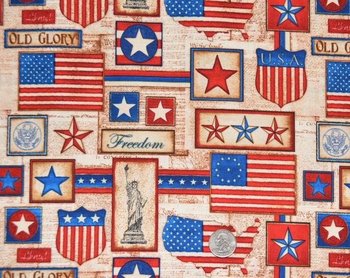 "Robert Kaufman ""America The Beautiful"" - 100% Kona Cotton  - ADO-8708-202 Americana"
