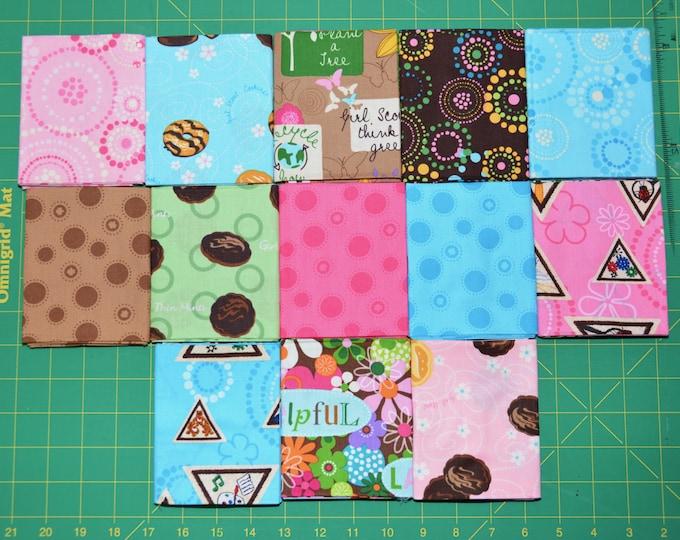 Robert Kaufman Girl Scout Fabric -  Brownie Colorstory Friendship Quilt FQ BUNDLE 1 - 100% Kona Cotton - FQ-298-13