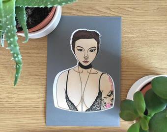 Illustration Print- Fashion Art Print- Fashion Illustration- Edgy Girl