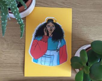 Illustration Print- Fashion Art Print- Fashion Illustration- Black Woman, 90's Chic