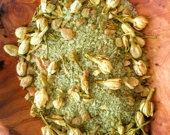 Bath Salts-Natural Bath Salts-Jasmine Bath Salts-Floral Bath Salts-Tea Bath Soak-Green Tea Bath-Flower Bath Salts-Jasmine Bath Soak-Organic
