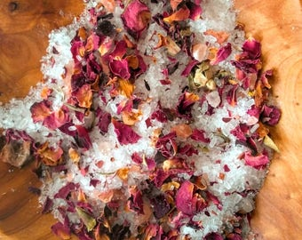 Bath Salts-Natural Bath Salt-Rose Bath Salt-Rose Bath Soak-Sea Salt Bath-Organic Bath Salt-Sea Salt Bath Soak-Rose Petal Bath-Detox Bath