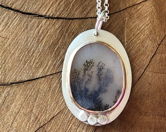 Dendritic agate silver necklace, Natural scenic agate pendant, handmade