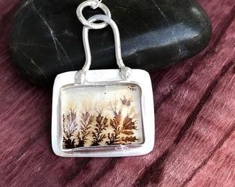 Dendritic agate silver necklace, scenic agate pendant, handmade.