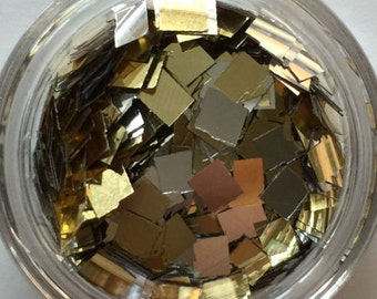 Gold and Silver Square Glitters. 5 grams