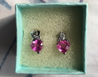 Heart shaped pink sapphire earrings