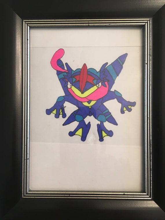 Pokemon Cendres Greninja Dessin Original De Couleur Art Jeux Objets De Collection œuvre Dart Decor Prêt à Encadrer Cadeaux Sous 10 Décor à
