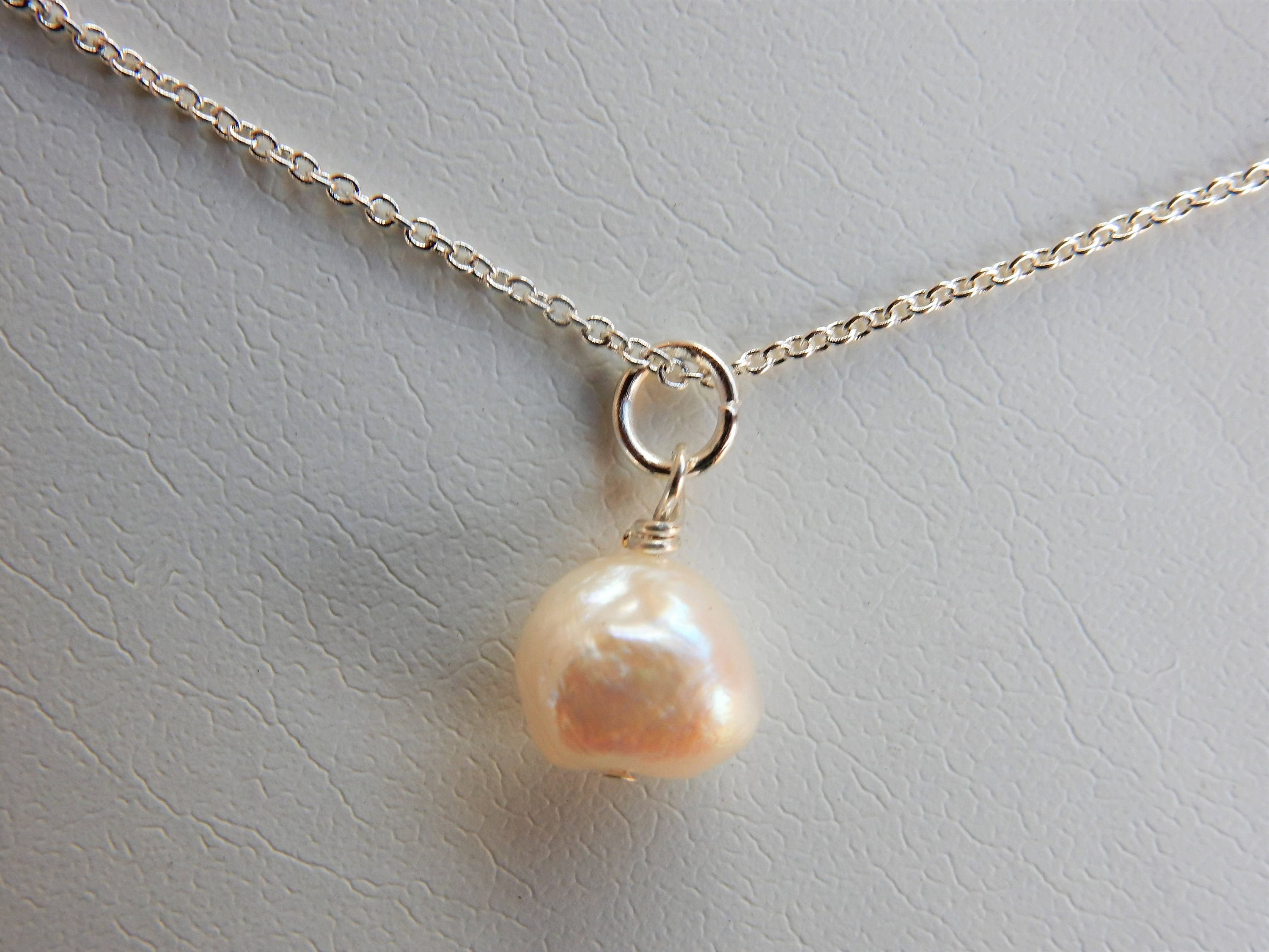 629800edad388 Freshwater Pearl Necklace, Single Pearl Necklace, Baroque Freshwater Pearl,  Dainty Pearl, White Pearl, Minimalist Pearl Necklace