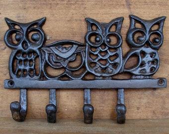 Iron Owl Hanger, Iron Hooks, Vintage Hooks, Owl Home Decor, Keys, Owl Hook,  Entryway Hooks, Wall Hanger, Door Hooks