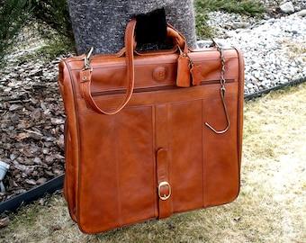 Leather Garment Bag, Barry Smith Suit Bag, Leather Travel Bag, Leather Suit Bag, Weekender Bag, Overnight Bag, Suit Bag, Italian leather