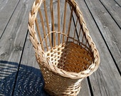 Vintage Straw Rack, Wall Flower Pot Holder, Planters Holder, Straw Wicker Planters Holder, Shabby Chic Wall Mounted, Rustic Straw Home Decor