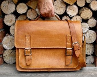 9b5b89ba7 vintage tan leather satchel school bag briefcase-vintage leather handbag  laptop brown leather bag-briefcase-document case