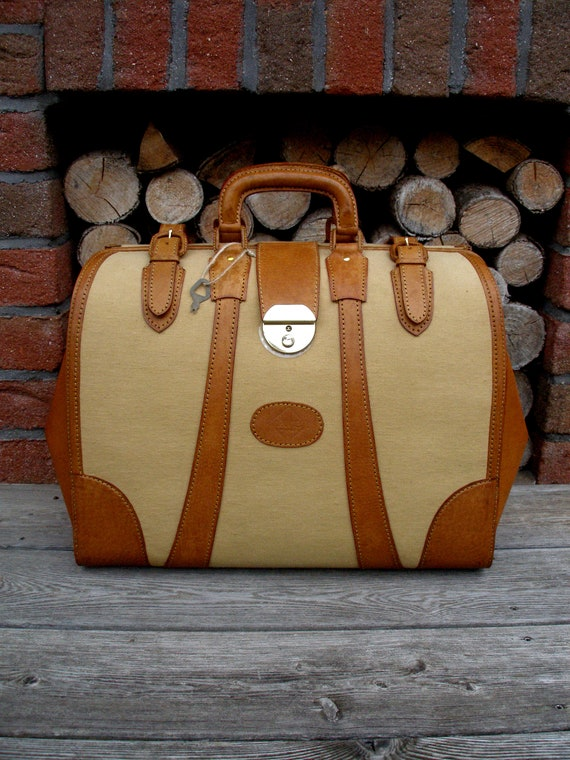 Duffel Bag With Leather Decor, Leather Doctor Bag,