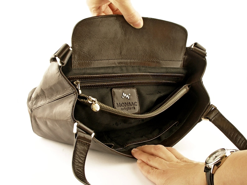 c4083c1196f32 Monsac braun Leder Handtasche Handtasche-Top-Griff