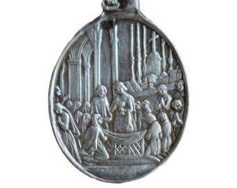 French Antique First Communion Medal - Sterling Silver Old Medal Pendant Charm - Communion Souvenir - Necklace