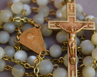Art Deco French Gold Rosary - Vintage Mother of Pearls Beads & Gold Religious Necklace Chaplet - Communion Baptism Wedding Gift