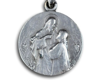 Jesus Christ And Mother Of God Antique Sterling Cross Silver Russian Icon