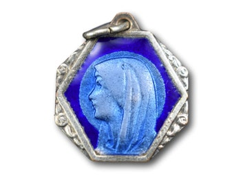 Art Deco Blue Enamel Lourdes Medal, French Religious Bracelet Rosary Charm, Our Lady Mary Communion Gift, Lourdes Virgin Pendant