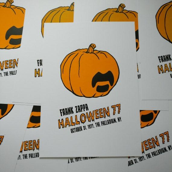 FRANK ZAPPA - A3 Orange Limited Edition Screen Print, Halloween, 1977,  Pumpkin, 70s, Music Poster, Music Print, October, Screenprint