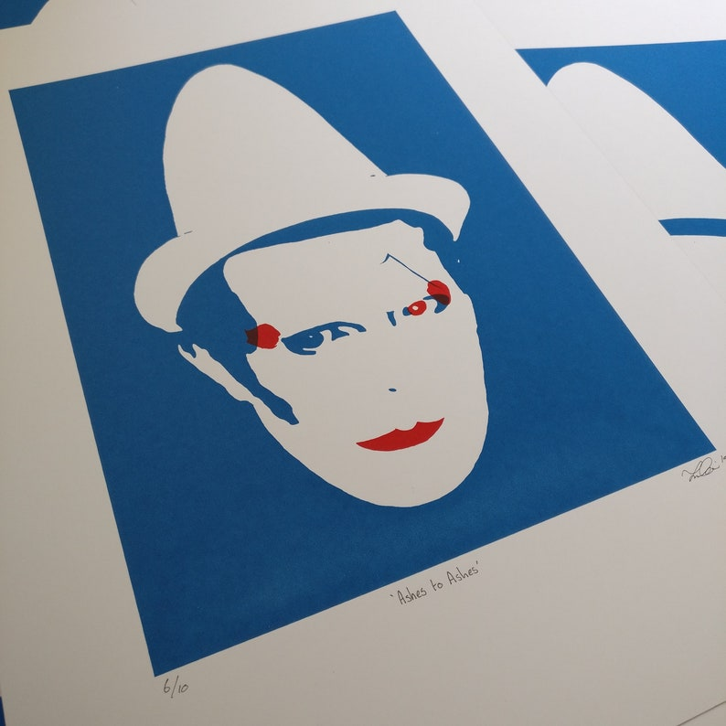 DAVID BOWIE - Ashes to Ashes, Screen Print, minimalist, blue, art print,  1980s