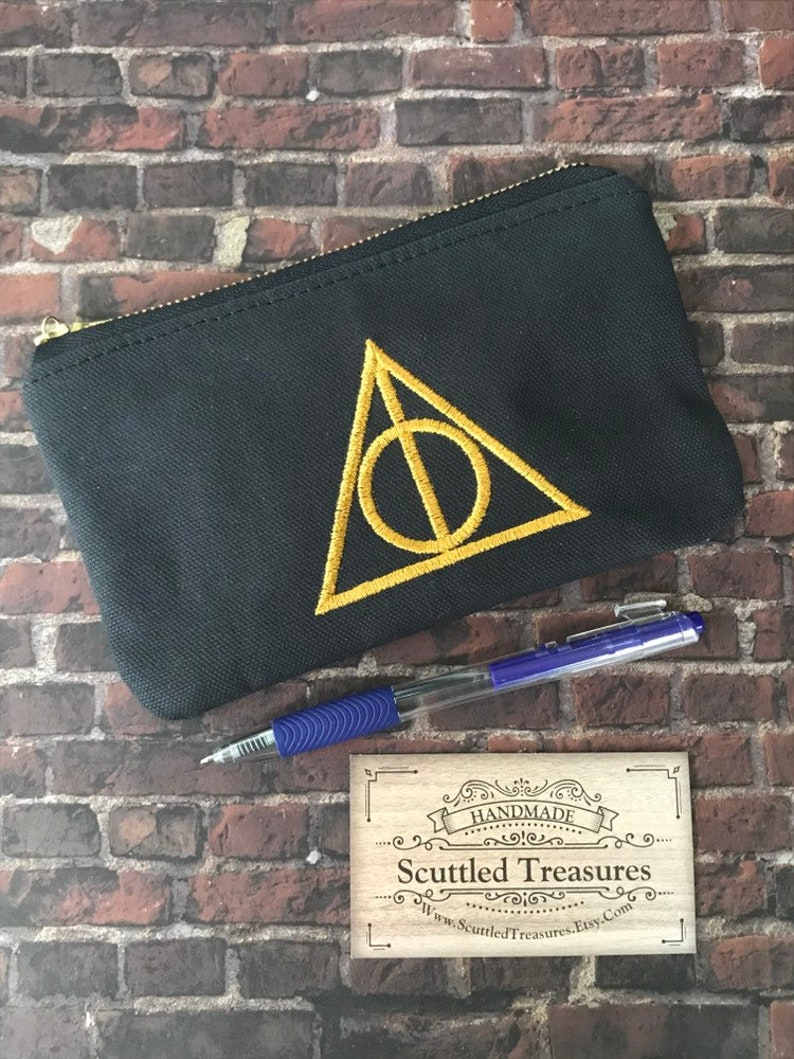 Stocking Stuffer School Pouch Pencil Case Deathly Hallows Inspired Custom Embroidered Canvas Zipper Pouch