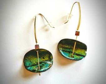 Enameled Copper Dangle Earrings