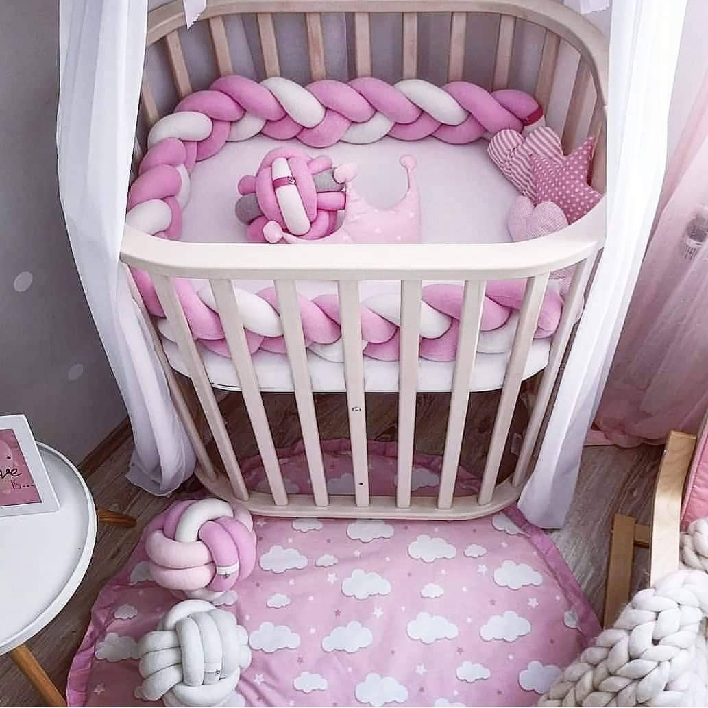 Braided Crib Bumper Crib Bedding Baby Shower Nursery Safety Knot Pillow Baby Bedding Crib Sheets Bolster Baby Gift Norsery Room