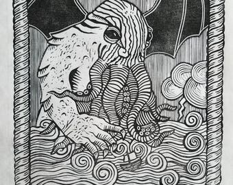 lovecraft's cthulhu rising from the pacific. 14x12.