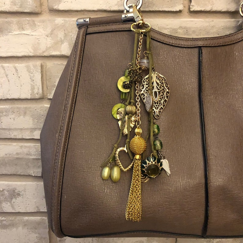 Upcycled Vintage Jewelry Bag Accessory Made With Repurposed Jewelry Perfect Gift for Her Green Boho Bag Charm Purse Jewelry