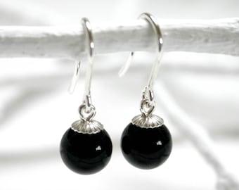 Onyxperlen Earrings | Black/925 silver