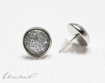 Glitter Dust Stud Earrings | Silver