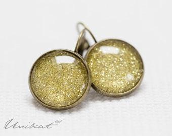 Glitter Dust Pierced Earrings | Gold Bronze/Brass