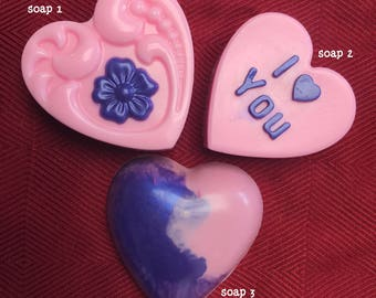 Pretty Customized Heart Soaps with Free Shipping Option